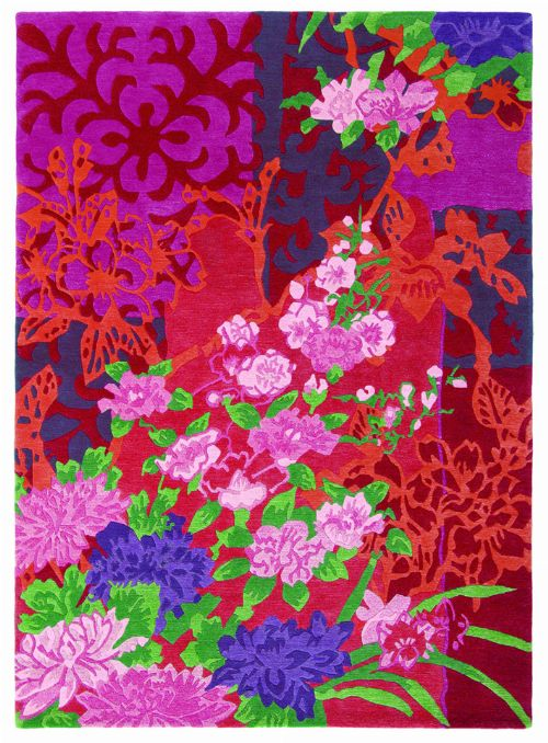 Bild: Blumenteppich Yara Garland 133300 (Rosa; 140 x 200 cm)