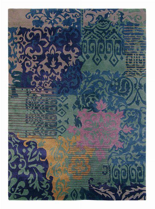 Bild: Vintage Schurwollteppich Yara Venice 196208 (Blau; 140 x 200 cm)