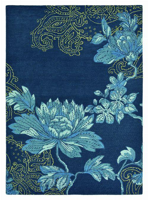 Bild: Schurwollteppich Fable Floral (Navy; 200 x 280 cm)