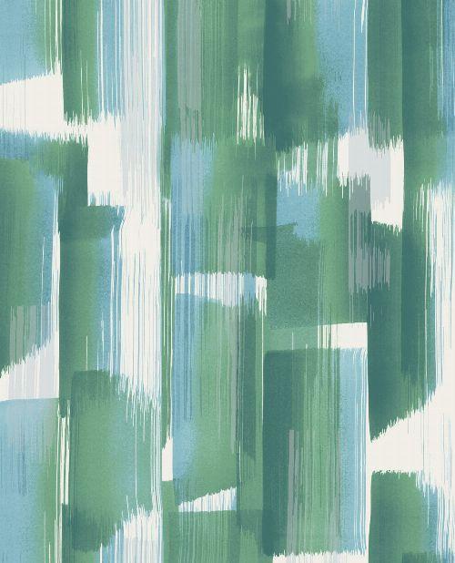Bild: Eijffinger Vliestapete Stripes+ 377000 - breite Pinselstriche (Grün/Blau)