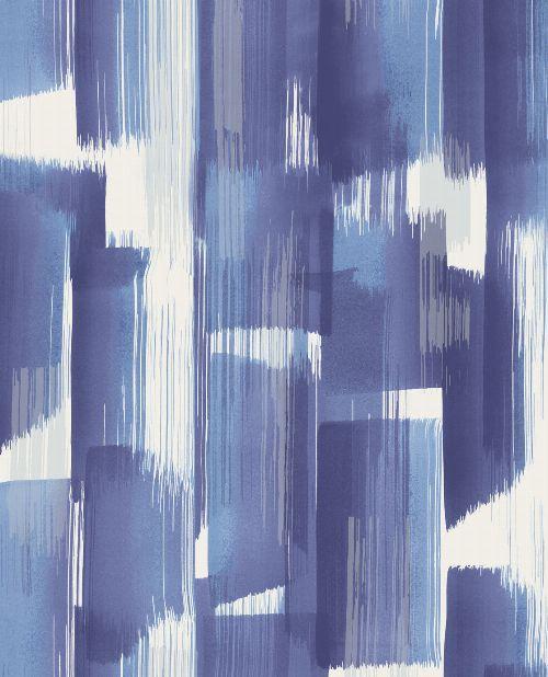 Bild: Eijffinger Vliestapete Stripes+ 377001 - breite Pinselstriche (Blau)