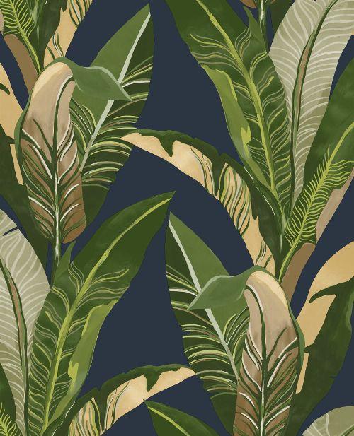 Bild: Eijffinger Vliestapete Vivid 384504 - Palmenblätter (Dunkelblau)