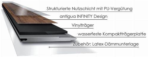 Bild: Antigua Infinity - Designvinyl Hydrotec - Langdielen Optik (Country Oak)