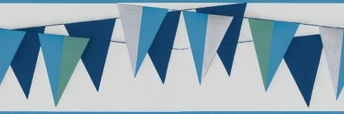 Bild: Kunterbunt - Bordüre Wimpelkette 45901 (Blau)