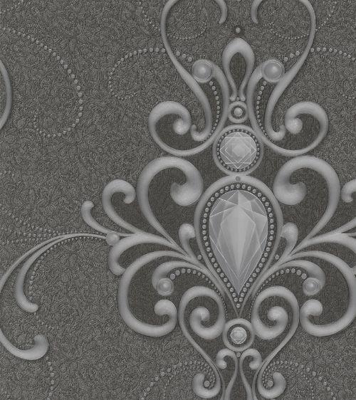 Bild: Glööckler Imperial 54853 - Ornamenttapete (Ruß)