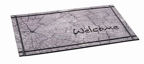 Bild: Gummiflockmatte Welcome Baumstumpf (Grau)
