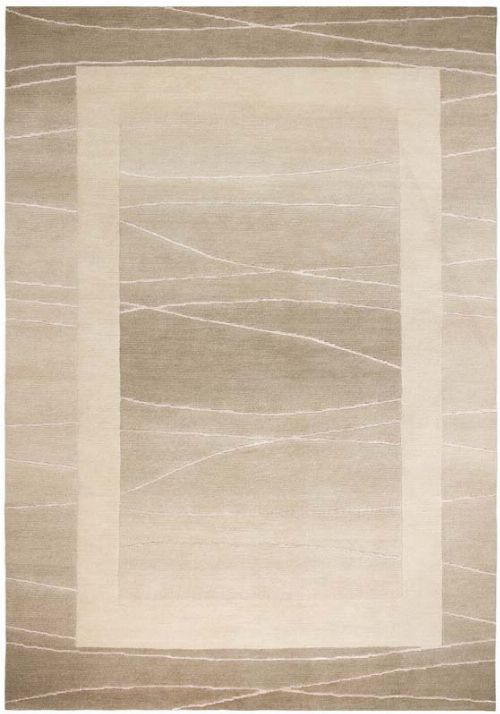 Bild: Original Nepal Bordürenteppich Linea (Beige; 70 x 140 cm)
