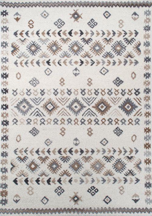 Bild: Royal Berber Teppich - Streifenmuster (Weiß/Beige; 90 x 160 cm)