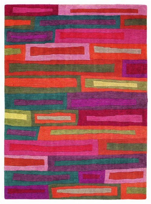 Bild: Designer Schurwollteppich Yara Bricks 199700 - Rot