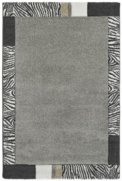 Bild: Moderner Bordürenteppich - Zebra - Silber