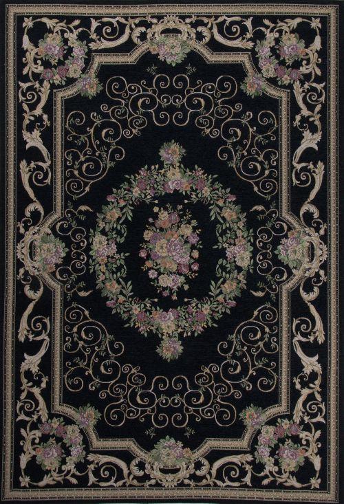 Bild: Klassischer Bordürenteppich Florentina - Schwarz