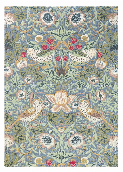 Bild: Morris & Co. Wollteppich Strawberry Thief (Slate; 170 x 240 cm)