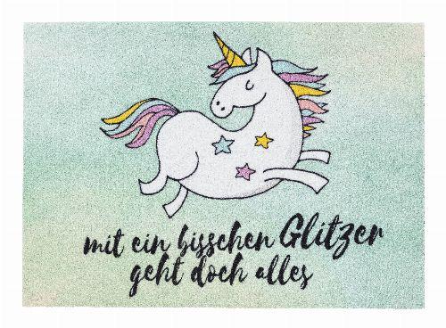 Bild: ASTRA Schmutzfangmatte - Happy Home Einhorn Glitzer (Türkis)