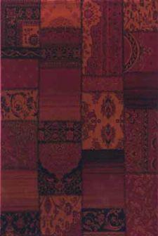 Bild: Teppich Patchwork Ornament - (Rot)