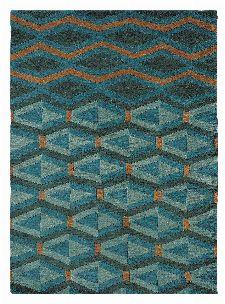 Bild: Brink&Campman Schurwollteppich Yara Artdeco 33508 (Türkis/Blau; 170 x 240 cm)
