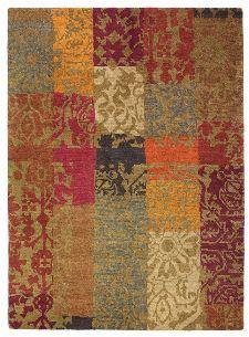 Bild: Designer Vintageteppich Yara Patchwork 194003 (Orange; 140 x 200 cm)