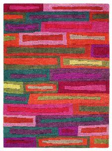Bild: Designer Schurwollteppich Yara Bricks 199700 (Rot; wishsize)