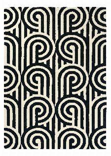 Bild: Florence Broadhurst Designerteppich Turnabouts (Schwarz/Weiß; 170 x 240 cm)