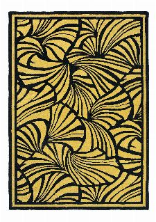 Bild: Florence Broadhurst Designerteppich Japanese Fans (Gold; 200 x 280 cm)