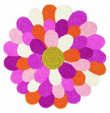 Bild: Teppich Funky Flower (Rosa; 110 x 110 cm)