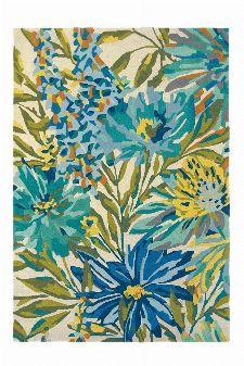 Bild: Wollteppich Floreale (Türkis; 140 x 200 cm)