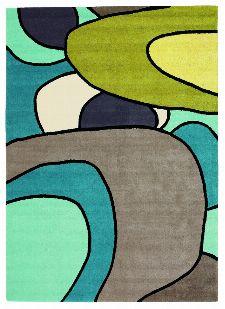 Bild: Designer Schurwollteppich Estella Comic 875008 (Türkis; 140 x 200 cm)