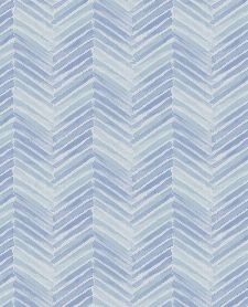 Bild: Eijffinger Tapete Stripes+ 377093 - Fischgrätmuster (Blau/Weiß)