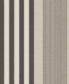Bild: Eijffinger Streifentapete Stripes+ 377100 - Leinenoptik (Beige/Schwarz)