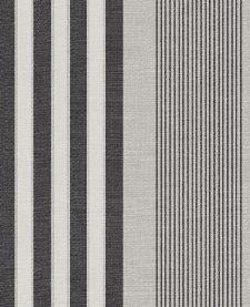 Bild: Eijffinger Streifentapete Stripes+ 377101 - Leinenoptik (Grau/Schwarz)