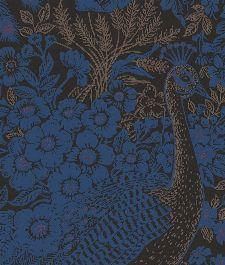 Bild: Eijffinger Reflect Vliestapete 378002 - Pfau mit Blumen (Dunkelblau)