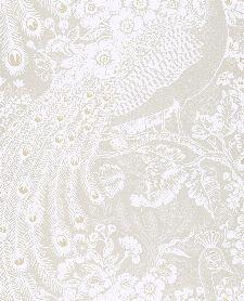 Bild: Eijffinger Reflect Vliestapete 378003 - Pfau mit Blumen (Creme/Weiß)