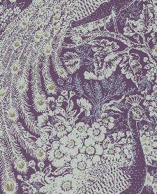 Bild: Eijffinger Reflect Vliestapete 378005 - Pfau mit Blumen (Lila)