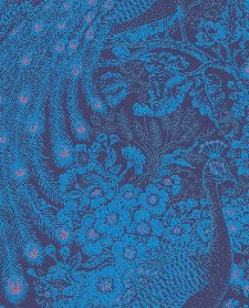 Bild: Eijffinger Reflect Vliestapete 378006 - Pfau mit Blumen (Blau)