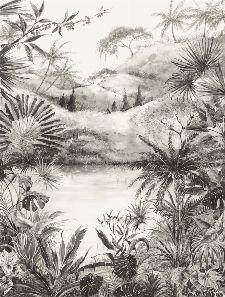 Bild: Eijffinger Fototapete 384604 - Tropical Charcoal Large (Schwarz/Weiß)