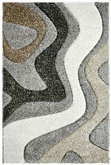 Bild: Moderner Teppich - Waves (Silber; 120 x 170 cm)