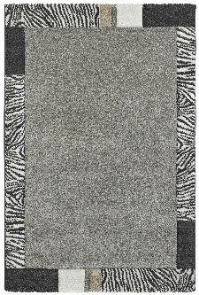 Bild: Moderner Bordürenteppich - Zebra (Silber; 200 x 290 cm)