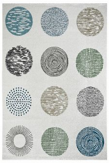 Bild: Moderner Teppich - Circles (Creme; 200 x 290 cm)