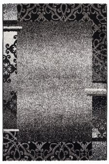 Bild: Kurzflorteppich Ornaments mit Bordüre (Anthrazit; 80 x 150 cm)