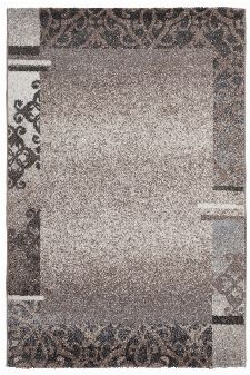 Bild: Kurzflorteppich Ornaments mit Bordüre (Taupe; 160 x 230 cm)