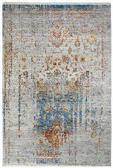 Bild: Fransenteppich in Vintage Ornament Optik (Blau; 200 x 285 cm)