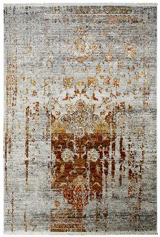 Bild: Fransenteppich in Vintage Ornament Optik (Braun; 200 x 285 cm)