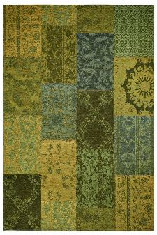 Bild: Jaquard Flachgewebe Teppich - Patchwork (Grün; 57 x 110 cm)