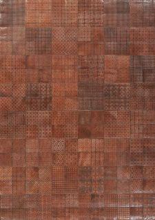 Bild: Leder Patchwork Teppich (Braun Leder; 200 x 290 cm)