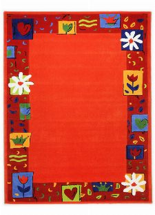 Bild: Kinderteppich Blumen Kindergarten MH-3657 (Orange; 120 x 180 cm)