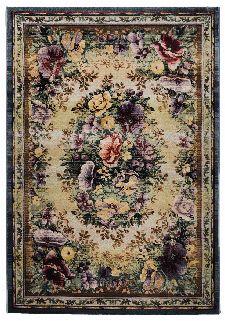 Bild: Blumenmotiv Teppich Gabiro Des. 0072 (Blau; 68 x 135 cm)