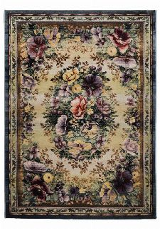 Bild: Blumenmotiv Teppich Gabiro Des. 0072 (Blau; 90 x 160 cm)