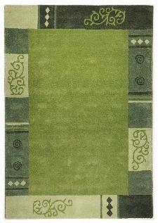 Bild: Schurwollteppich Ambadi Bordüre (Grün; 70 x 140 cm)