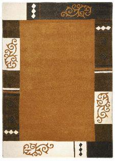 Bild: Schurwollteppich Ambadi Bordüre (Braun; 70 x 140 cm)