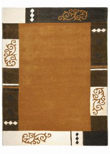 Bild: Schurwollteppich Ambadi Bordüre (Braun; 150 x 150 cm)
