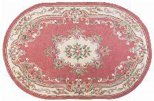 Bild: Ovaler Aubusson Design Teppich Ming 501 (Rose; 190 x 290 cm)